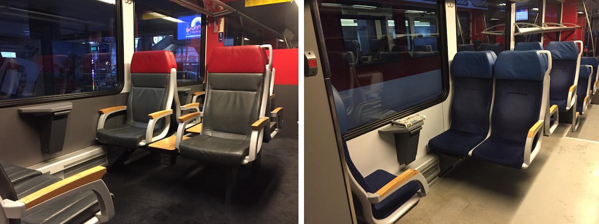 trem suica - primeira e segunda classe